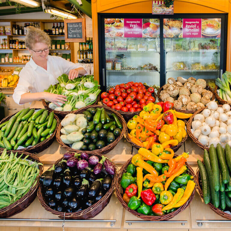 Große Auswahl an Gemüse aus eigenem Anbau